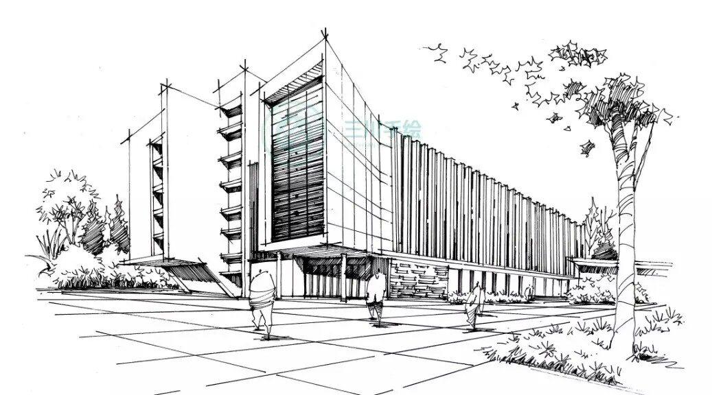 Excepcional Perspectiva a Mão Livre - Colégio de Arquitetos EL54